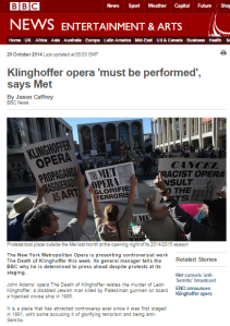 Met manager given BBC platform to defend Klinghoffer opera