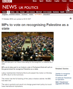 BBC fails to provide essential background to Commons vote on recognition of Palestinian state