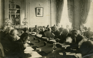 David Lloyd George with other delegates at the 1919 Peace Conference at Versailles - Parliamentary Archives