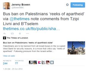 Jeremy Bowen compromises BBC impartiality via Twitter