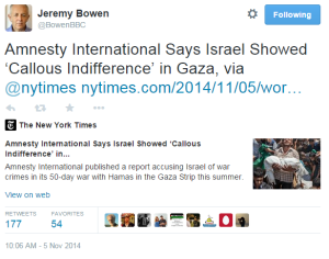 BBC's Middle East editor promotes Amnesty International's Gaza report