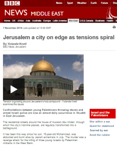 What is missing from Yolande Knell's BBC backgrounder on Jerusalem violence?