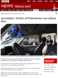 BBC report on second death in Jerusalem attack: 469 words but not one of them is terror
