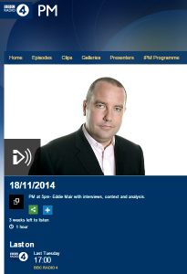 BBC coverage of the Har Nof terror attack on Radio 4's PM – part one