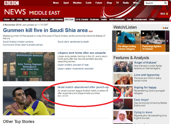 The BBC News website's Middle East priorities: missile ignored, football fight reported