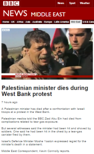Multiple inaccuracies in Kevin Connolly's filmed BBC report on death of Ziad Abu Ein