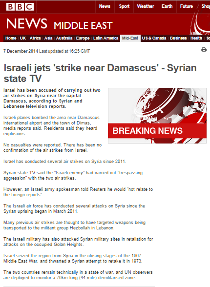 Vital information missing in BBC reports on alleged Israeli airstrikes in Syria