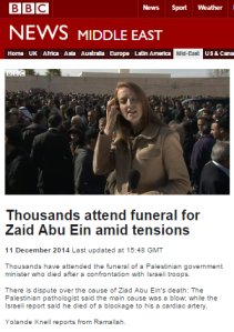 BBC's Knell at Abu Ein funeral: all the rumour not worth reporting