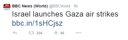 Missile from Gaza not news for the BBC but Israeli response gets headlines