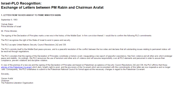 Arafat 1993 letter
