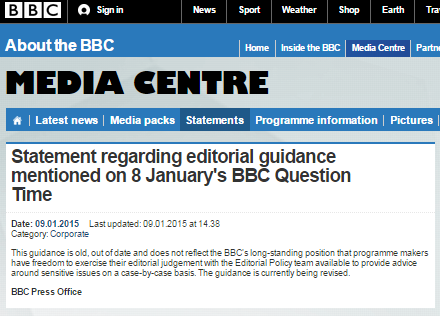 BBC press office QT statement