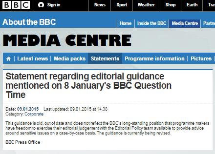 BBC press office QT statement