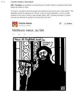 Hebdo Tweet on BBC Live