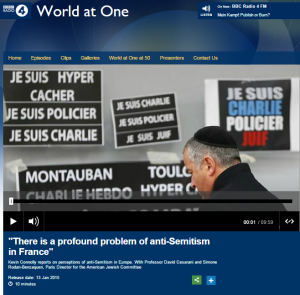 BBC R4: Paris 'tensions' due to Israel's failure to make peace