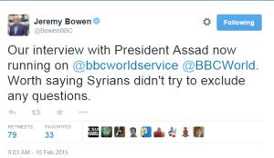 Assad int Bowen tweet