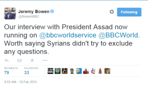 Assad int Bowen tweet