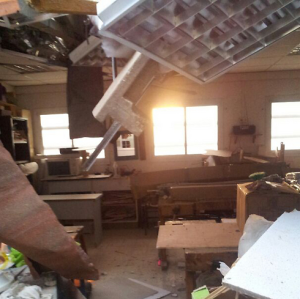 A school in Rishon LeZion after a missile hit on 15 July 2014. Photo credit: IDF