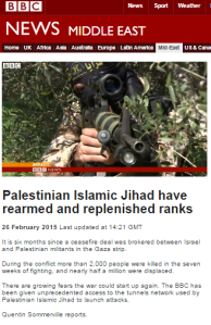 BBC's Sommerville showcases PIJ rearmament but refrains from asking who supplied the weapons