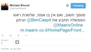 Tweet Shuval Netanyahu