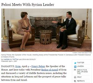 Senators letter Pelosi Assad