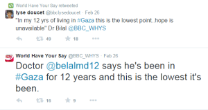 WHYS Gaza tweets doctor