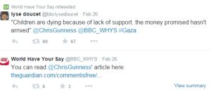 WHYS Gaza tweets Gunness