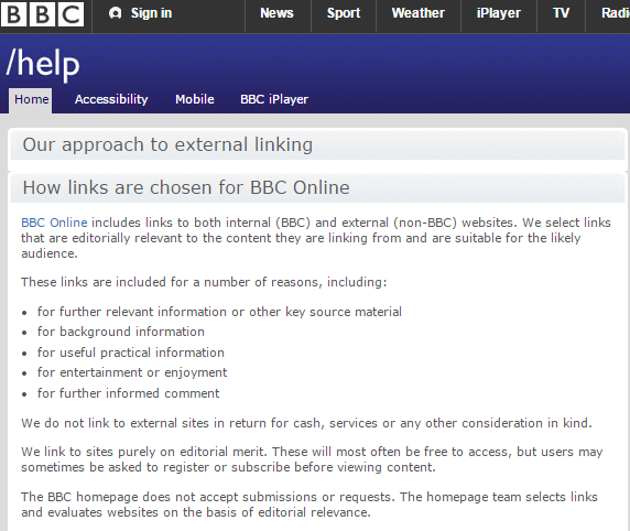 BBC linking external websites