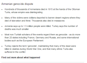 The BBC policy underlying reporting on the Armenian Genocide