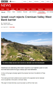 Knell's follow up on Cremisan Valley marred by BBC mantras