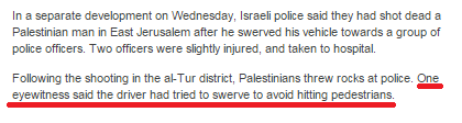 20% of BBC's reporting on car attack in Jerusalem is amplification of anonymous hearsay