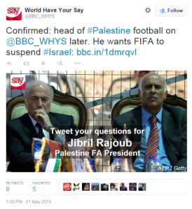 Wind in the sails of Jibril Rajoub's anti-Israel campaign from BBC WS WHYS
