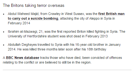 BBC News inaccurately claims first suicide bombing abroad by a British citizen was in 2014