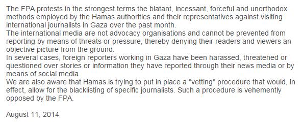FPA statement Hamas Aug 14