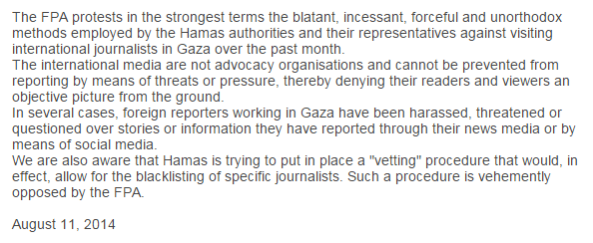 FPA statement Hamas Aug 14