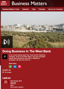BBC WS's 'Business Matters' misrepresents the status of Area C in report on PA economy