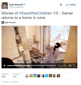 Lyse Doucet's promotion of her BBC Two 'Children of the Gaza War' programme