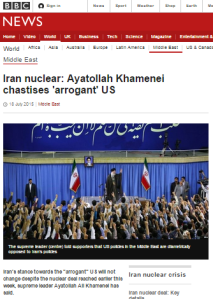 BBC's summary of Khamenei speech censors pledge to support terror