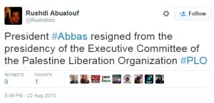 No BBC coverage of Abbas' PLO resignation
