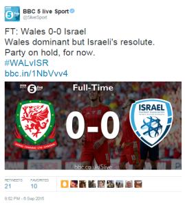 BBC Wales vs Israel 5live