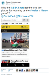 BBC Wales vs Israel flag