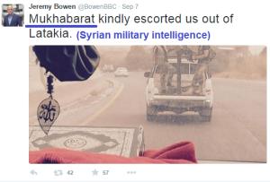 Bowen tweet Syria mukharabat