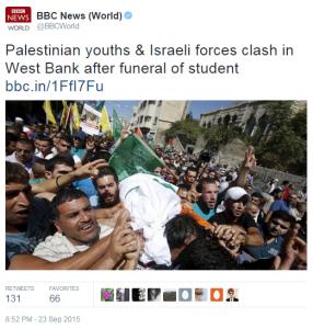 Hebron incident BBC World tweet