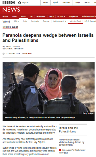 BBC News tells audiences Israeli fears of terror attacks are 'paranoia'
