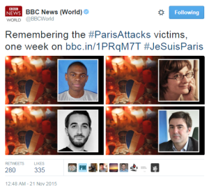 Compare and contrast: BBC News personalisation of victims of terror
