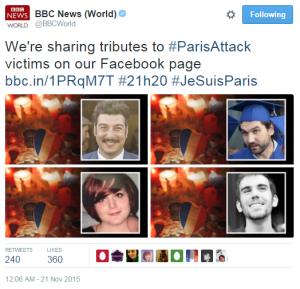 BBC News Twitter Paris victims 2