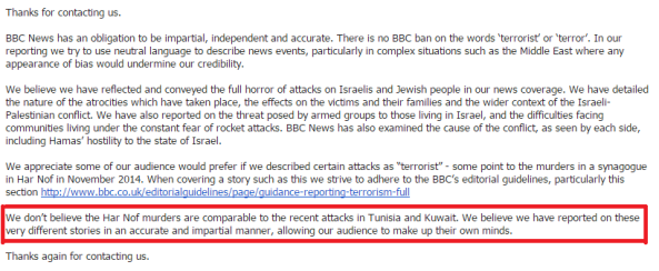 "BBC Complaints: terror attacks in Jerusalem and Tunisia are ""very different"""