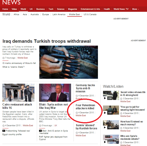 BBC News headline prioritises terrorist deaths