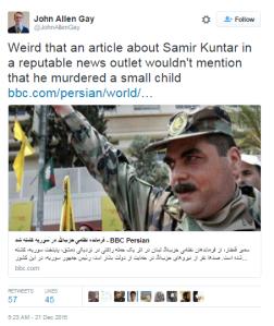Tweet BBC persian Kuntar