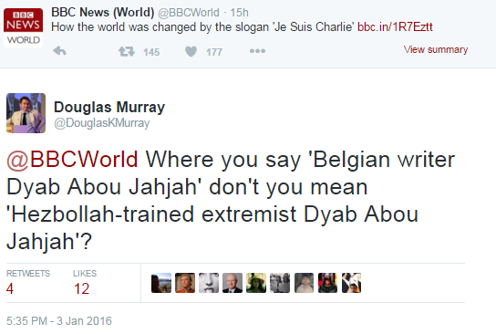 Douglas Murray Tweet Abu Jahjah