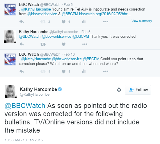 BBC claims correction to radio reports but inaccuracy remains